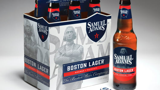 New packaging rolled out last week for Samuel Adams craft beer.