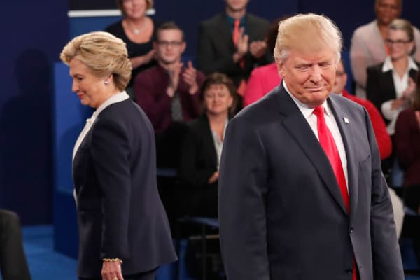 Democratic nominee Hillary Clinton and Republican nominee Donald Trump during the second presidential debate at Washington University in St. Louis, on October 9, 2016.