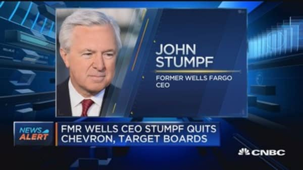 Former Wells CEO Stumpf quits Chevron, Target boards