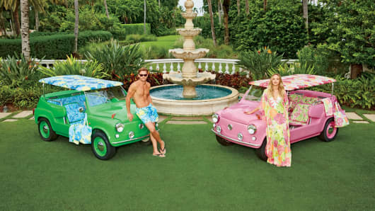 His and Hers Neiman Marcus island cars featuring Lilly Pulitzer