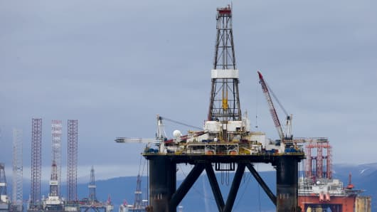 The Sedco 714 oil platform, operated by Transocean Ltd., stands in the Port of Cromarty Firth in Cromarty, U.K.