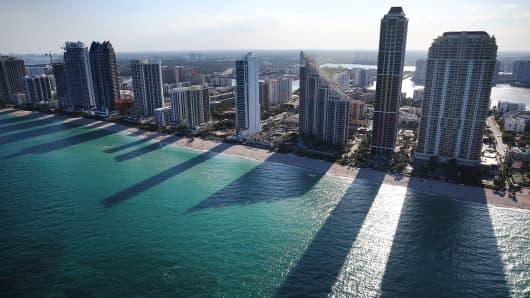 Condo buildings line the beach in Sunny Isle, Florida.