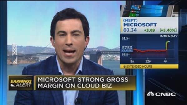 Microsoft strong gross margin on cloud biz