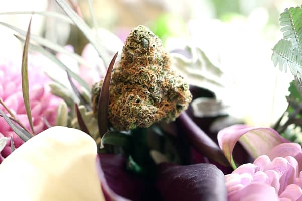Bec Koop's clients purchase the cannabis and she adds them to the bouquets.
