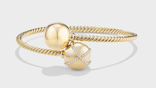 Solari Bypass Bracelet with Diamonds in 18K Gold by David Yurman