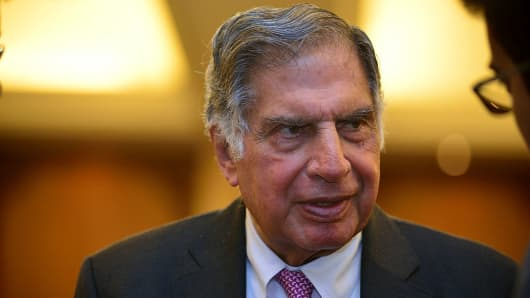 Ratan Tata speaks during an interview.