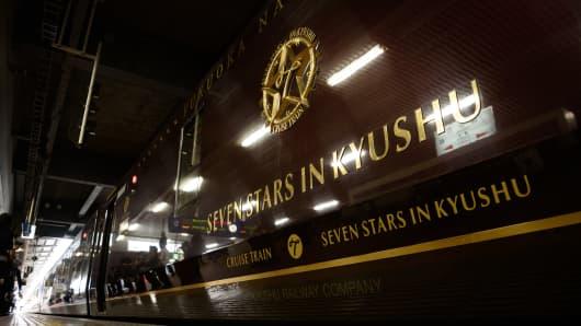 The Seven Stars in Kyushu luxury train, operated by Kyushu Railway Co., stops at Hakata Station in Fukuoka, Fukuoka Prefecture, Japan, on Tuesday, Oct. 11, 2016.