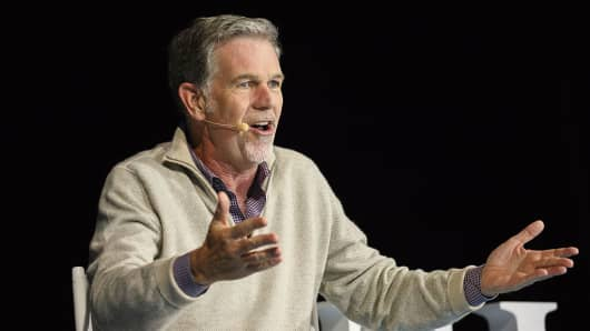 Reed Hastings, chief executive officer of Netflix, speaks during a conference.