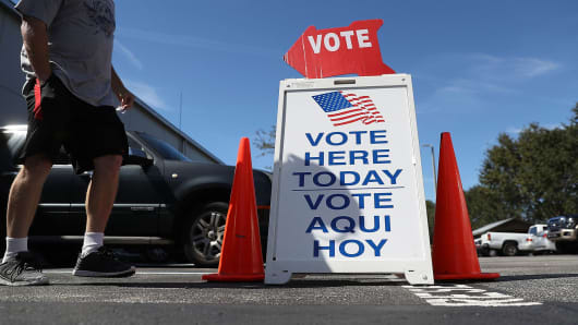 A voting sign points early voters to the polling station at the Hillsborough County Supervisor of Elections office on Oct. 24, 2016 in St. Petersburg, Fla.