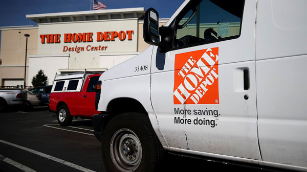 Home Depot trucks sits parked in a parking lot at a Home Depot store in Daly City, California.