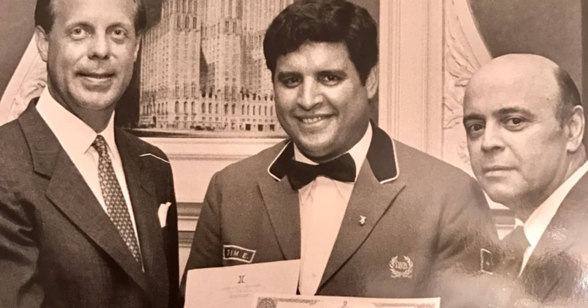 Jillali Elidrissi (center) has been a bellman at New York's Waldorf-Astoria hotel since April 1966.