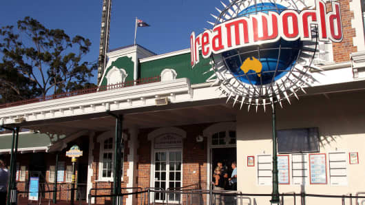 The entrance to the Dreamworld theme park is seen on Gold Coast on October 25, 2016, after four people were killed when a park ride malfunctioned.