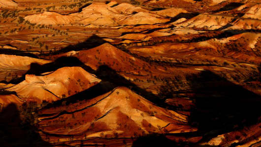 The fragile 'Painted Hills', a rock formation in the South Australian desert near the Anna Creek Station, halfway between Adelaide and Alice Springs. The site, home to the world's largest cattle station, is also in the centre of the Australian Defence Department's Woomera weapons testing site, a testing field the size of England.