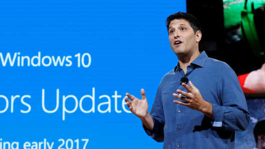 "Terry Myerson, Microsoft Executive Vice President of the Windows and Devices Group speaks about Microsoft's Windows 10 ""Creators Update"" at a live Microsoft event in New York City, October 26, 2016."