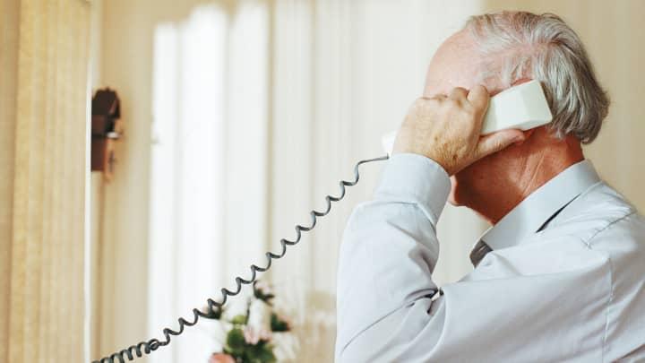 senior man on phone