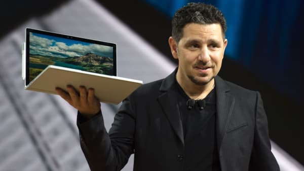 Microsoft Corporate VP of Devices Panos Panay, talks about Microsoft Surface Book i7 at a Microsoft news conference October 26, 2016 in New York.