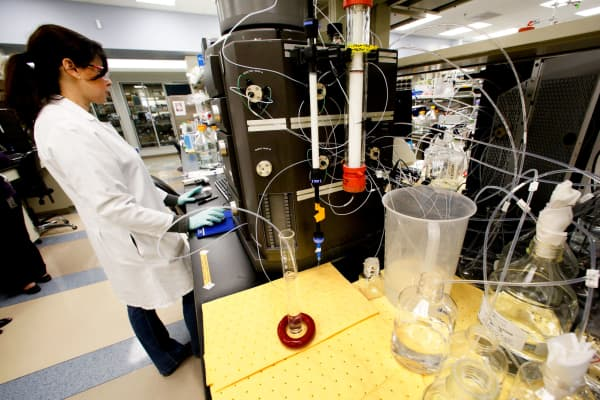 A researcher working in a lab at Amgen in Thousand Oaks, California.