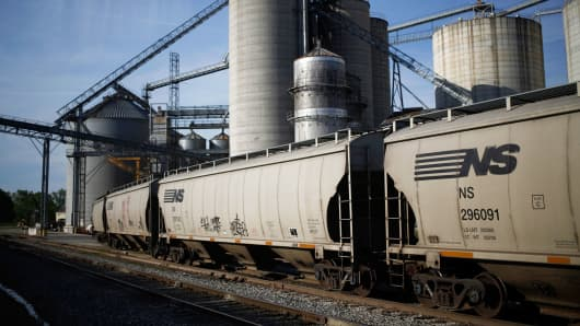 Norfolk Southern railroad cars sit after being loaded with corn at a Kokomo Grain Co. transloading facility in Edinburgh, Indiana.