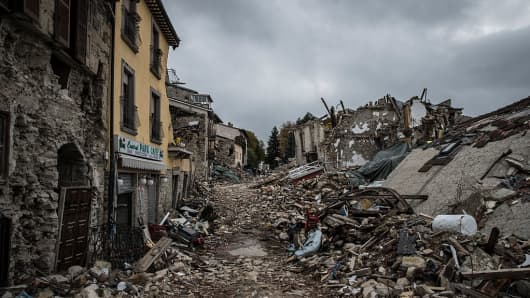 A picture taken on October 11, 2016 shows destruction in the village of Amatrice. Nearly 300 people died in the quake of August 24, 2016 and hundreds more were injured.