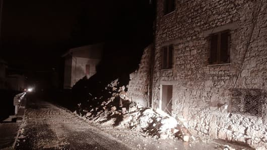 A picture shows rubbles in the village of Borgo Sant'Antonio near Visso, central Italy, after earthquakes on October 26, 2016.