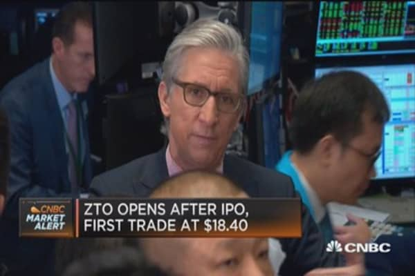 ZTO opens after IPO, first trade at $18.40