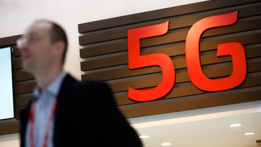 A 5G sign sits on display at the Mobile World Congress in Barcelona, Spain, March, 2015.