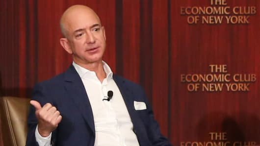 Jeff Bezos speaking at the new New York Economic Club luncheon with Charlie Rose in New York on Oct. 27, 2016.