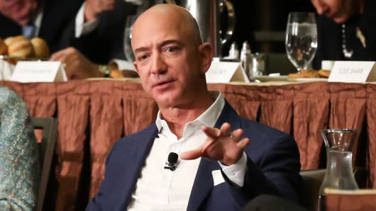 Jeff Bezos speaking at the new New York Economic Club luncheon in New York on Oct. 27, 2016.