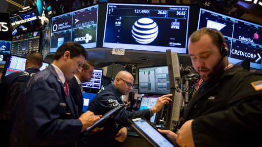 AT&T signage is displayed on a monitor at the New York Stock Exchange in New York.