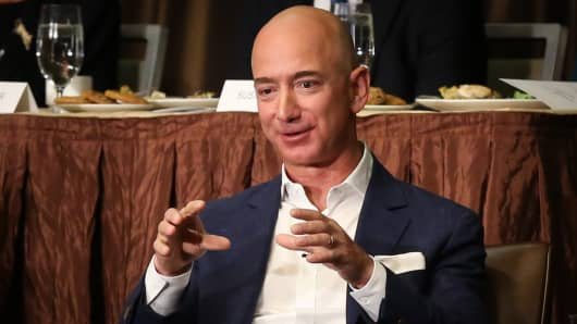 Jeff Bezos speaking at the New York Economic Club luncheon in New York on Oct. 27, 2016