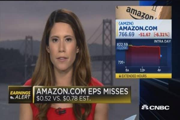 Amazon drops on earnings miss