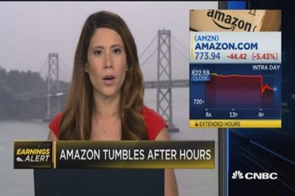 Amazon tumbles after hours