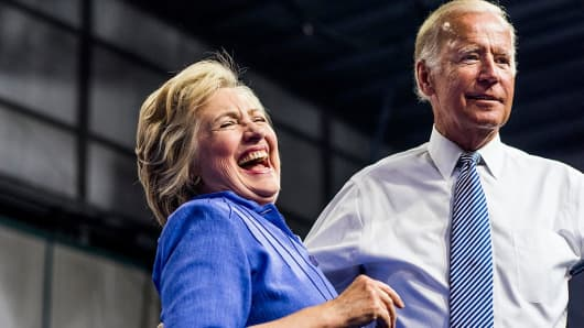 Democratic presidential nominee Hillary Clinton rallies with longtime friend and colleague Vice President Joe Biden.