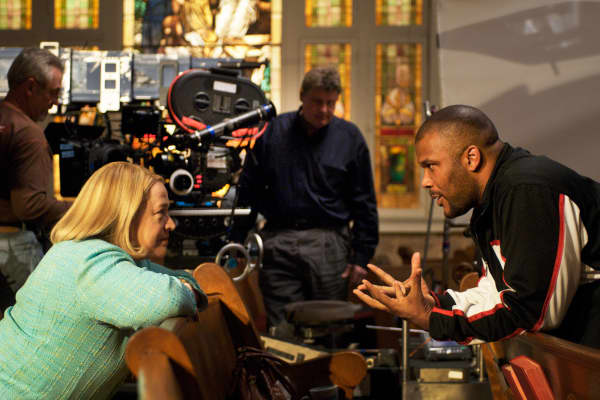 Tyler Perry directing Kathy Bates at his Atlanta-based film studio