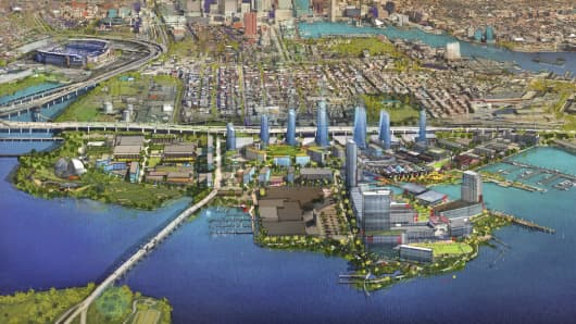 Rendering of the Port Covington redevelopment project in Baltimore.