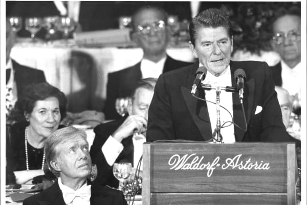 President Carter and Ronald Reagan at the Al Smith memorial dinner at the Waldorf-Astoria, Oct. 16, 1980.