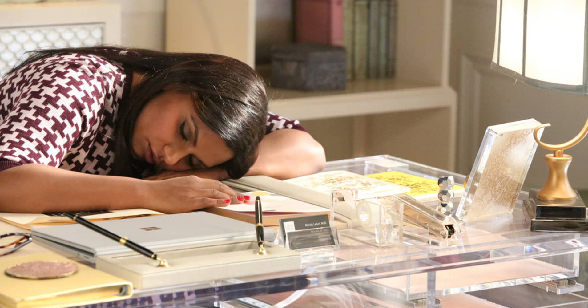 Mindy Kaling from 'The Mindy Project' plays an overworked, and sometimes exhausted, young professional.