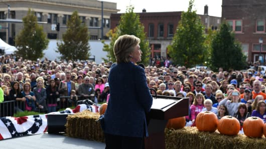 Democratic presidential nominee Hillary Clinton speaks at a Democratic party 'Women Win' early vote rally in Cedar Rapids, Iowa, on October 28, 2016.
