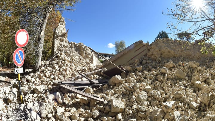 A general view of Norcia following a massive earthquake yesterday morning on October 31, 2016