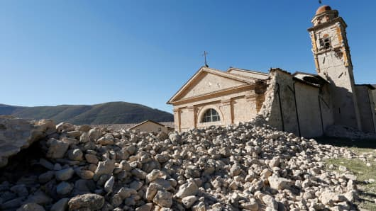 Saint Anthony Church is seen partially collapsed following an earthquake along the road to Norcia, Italy, October 30, 2016.