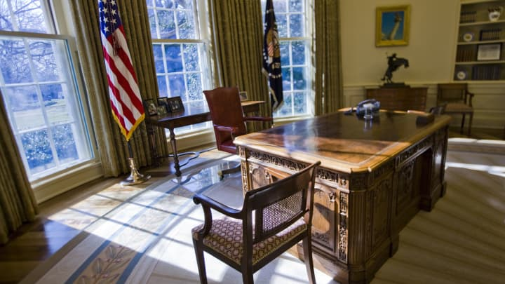 An empty Oval Office at the White House in Washington.