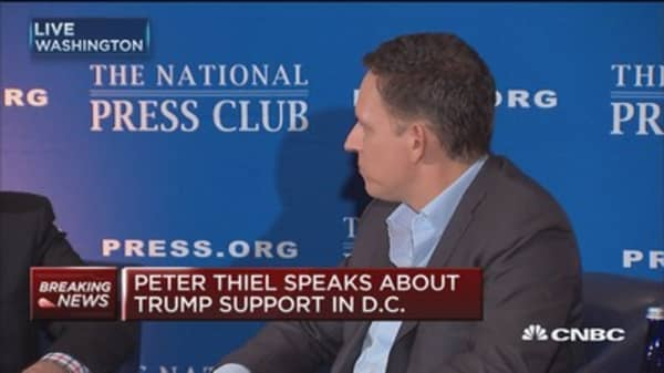 Peter Thiel speaks about Trump support in DC