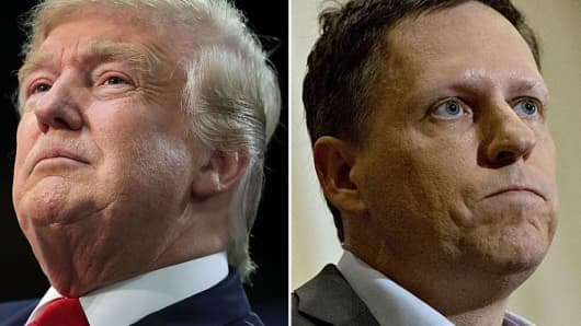 Donald Trump, 2016 Republican presidential nominee and Peter Thiel, co-founder of PayPal Inc.