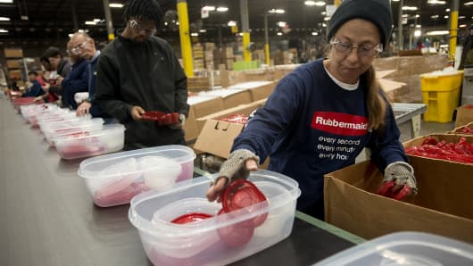Rubbermaid factory workers