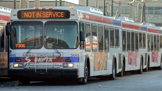 Southeastern Pennsylvania Transportation Authority buses sit out of service at the Oregon Avenue Depot SEPTA facility in Philadelphia.