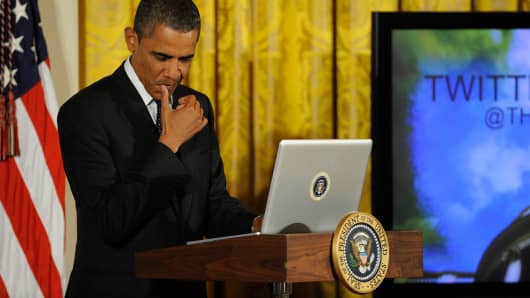 President Barack Obama holds a Twitter Town Hall, moderated by Jack Dorsey, Twitter co-founder and Executive Chairman, in the East Room of the White House.