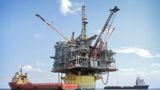 In about 8,000 feet of water, Shell's Perdido offshore drilling and production platform is the world's deepest offshore rig.