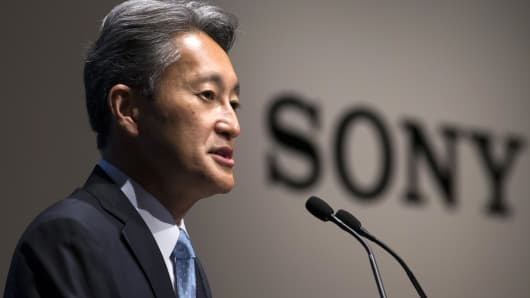 Sony Corp. CEO Kazuo Hirai speaks during a press conference on June 29, 2016 in Tokyo, Japan.