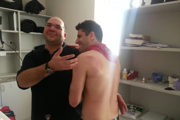 Jon Levy in the emergency room in Pamplona, Spain, after being trampled in the running of the bulls.