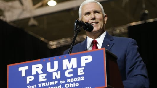 Republican vice presidential candidate, Indiana Governor Mike Pence addresses a campaign rally in Cleveland, Ohio.